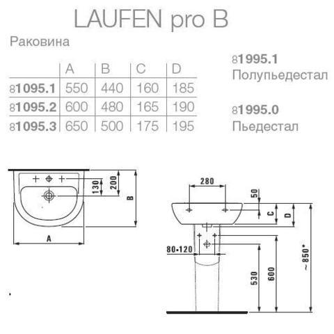 Раковина  Laufen Pro 55x44см.  8.1095.1.000.104.1 схема