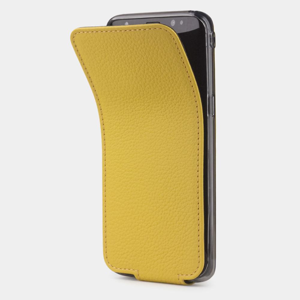 Чехол для Samsung Galaxy S8 из натуральной кожи теленка, желтого цвета