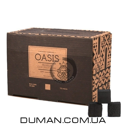 Натуральный кокосовый уголь Oasis (Оазис) для кальяна  1кг 72куб 25*25мм