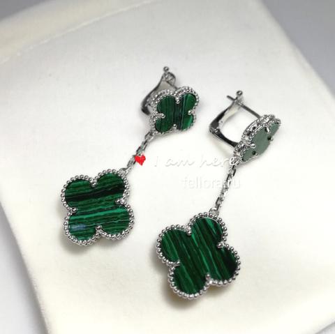44324- Серьги из серебра Trendy 2 мотива с зеленой вставкой