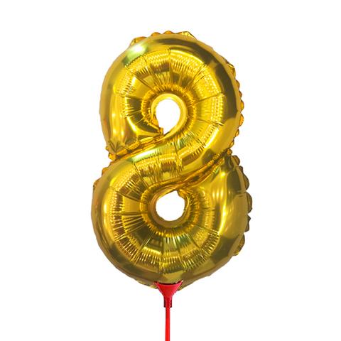 Цифра 8 (35 см) на палочке золотая