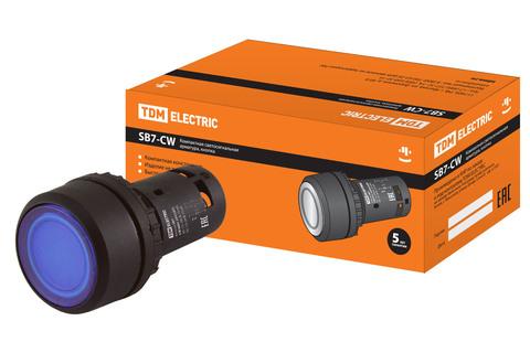 Кнопка SB7-CW3665-24V(LED) d22мм 1з+1р синяя TDM