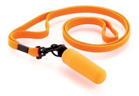 Оранжевая вибропулька с ремешком на шею - 6 см.