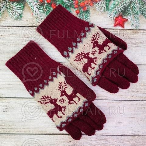 Перчатки для девочки с митёнками сенсорные два пальца Олени бордовые