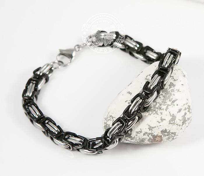 BM409 Стальной браслет из черных и серебристых звеньев (22 см) фото 07