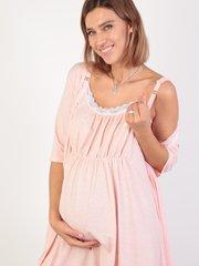 Евромама. Комплект для беременных и кормящих с коротким рукавом и кружевом, меланж розовый вид 5