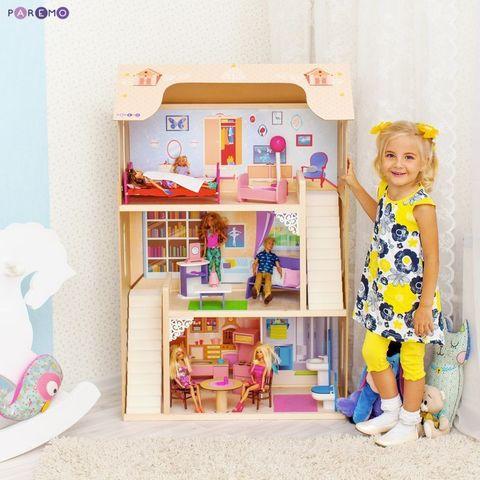 """Кукольный домик для Барби """"Шарм"""" (16 предметов мебели, 2 лестницы)"""