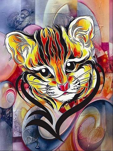Алмазная Мозаика 40x50 Нарисованный тигренок
