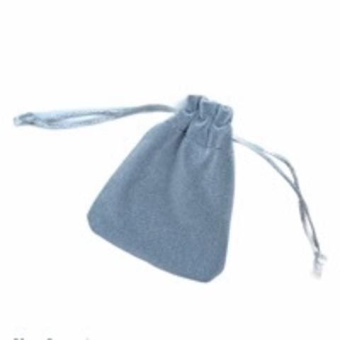 Бархатный мешочек для упаковки украшений серый (маленький)