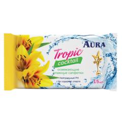 """Салфетки влажные """"Aura"""" Tropic Cocktail освежающие 15шт"""