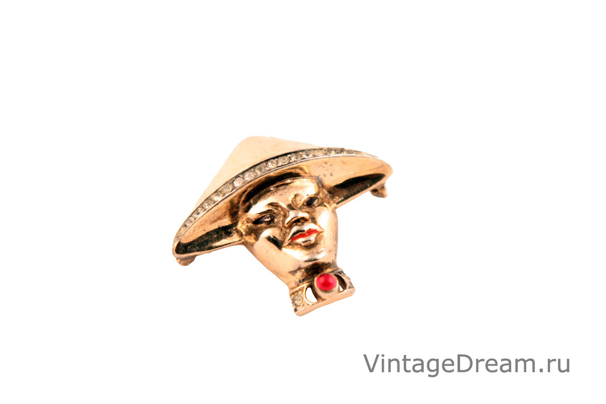 Asian Man collectible silver brooch by Reja, 1940s