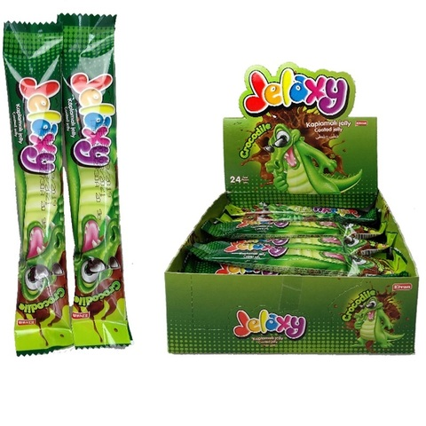 'Jelaxy Crocodile Compound Coated (24х6)  Жевательный мармелад с фруктовым соком и с глазурью Крокод. 1кор*6бл*24шт, 20гр