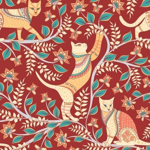 Коты с орнаментами на ветках. Индийский стиль. Каламкари. (Дизайнер Irina Skaska)