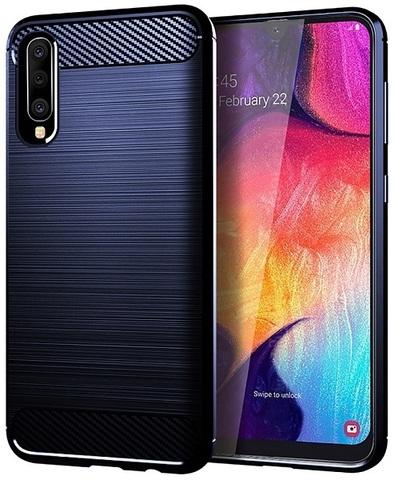 Чехол Samsung Galaxy A50 (Galaxy A30S, A50S) цвет Blue (синий), серия Carbon, Caseport