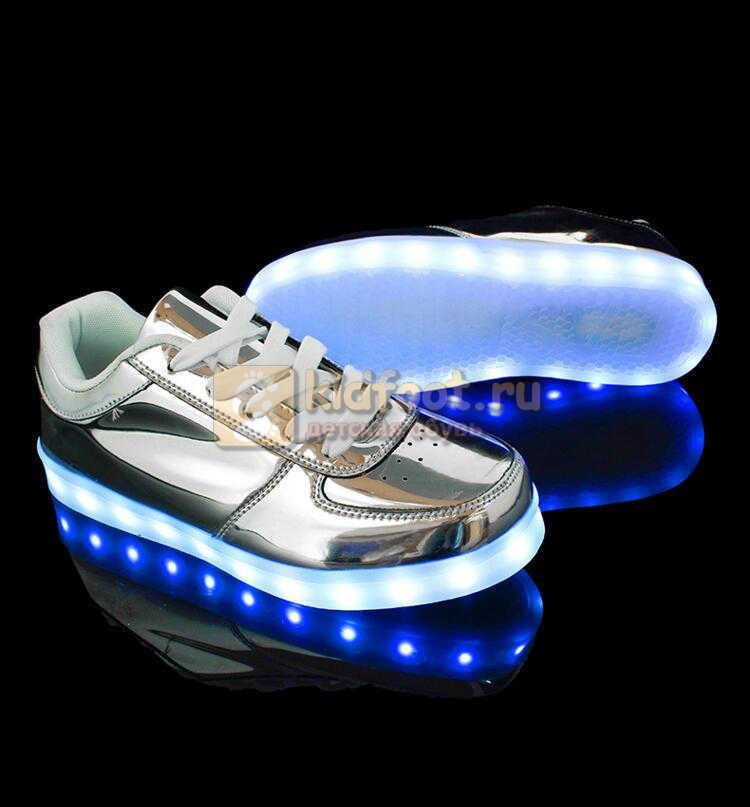 Светящиеся кроссовки с USB зарядкой Fashion (Фэшн) на шнурках, цвет серебряный, светится вся подошва