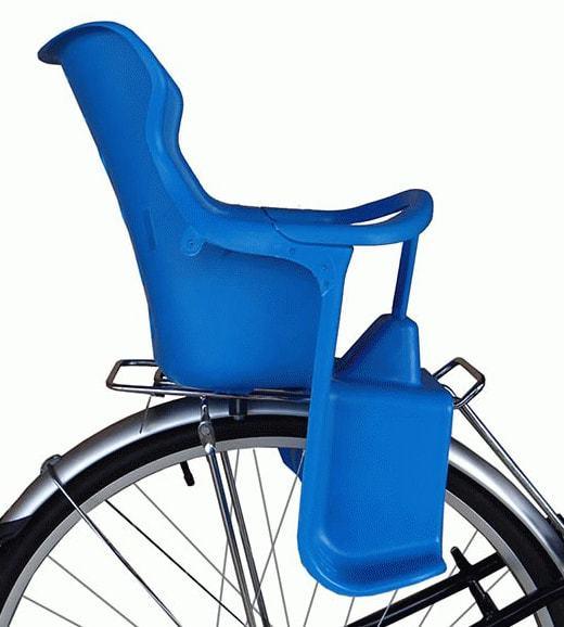 Детское велосипедное кресло для детей от 2 до 5 лет и весом до 20 кг - синее