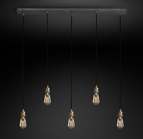 Подвесной светильник копия 20th C. Factory Filament Bare Bulb Rectangular Pendant by Restoration Hardware