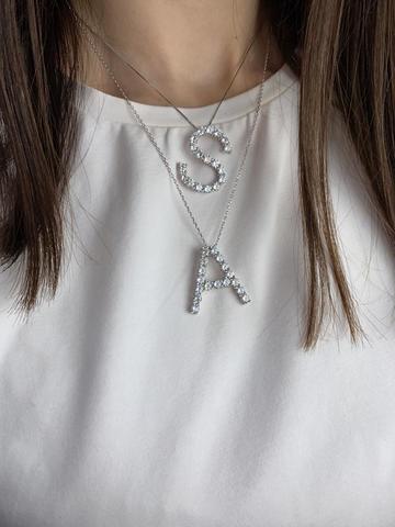 Подвеска из серебра с цирконами буква A