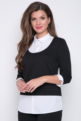 """<p>Офисная блузка -&nbsp; имитация """"двойки"""". Отличное решение для деловой особы. Хорошо сочетается с супер популярными брюками """"Катрин"""" из новой осенней коллекции.</p>"""