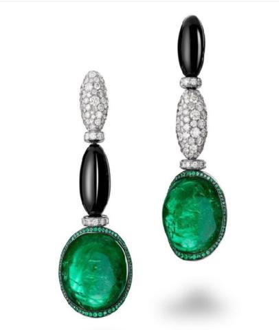 98551- Серьги из серебра с цирконами и зеленым кварцем в стиле  De Grisogono