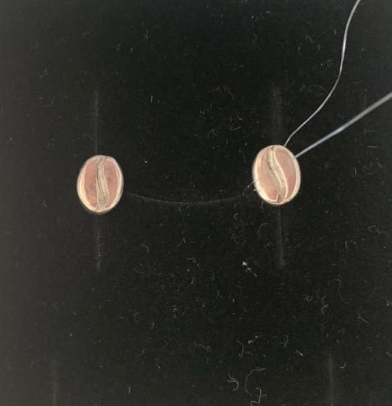 Серьги-пусеты кофейные зернышки, полированные, 1,57 гр