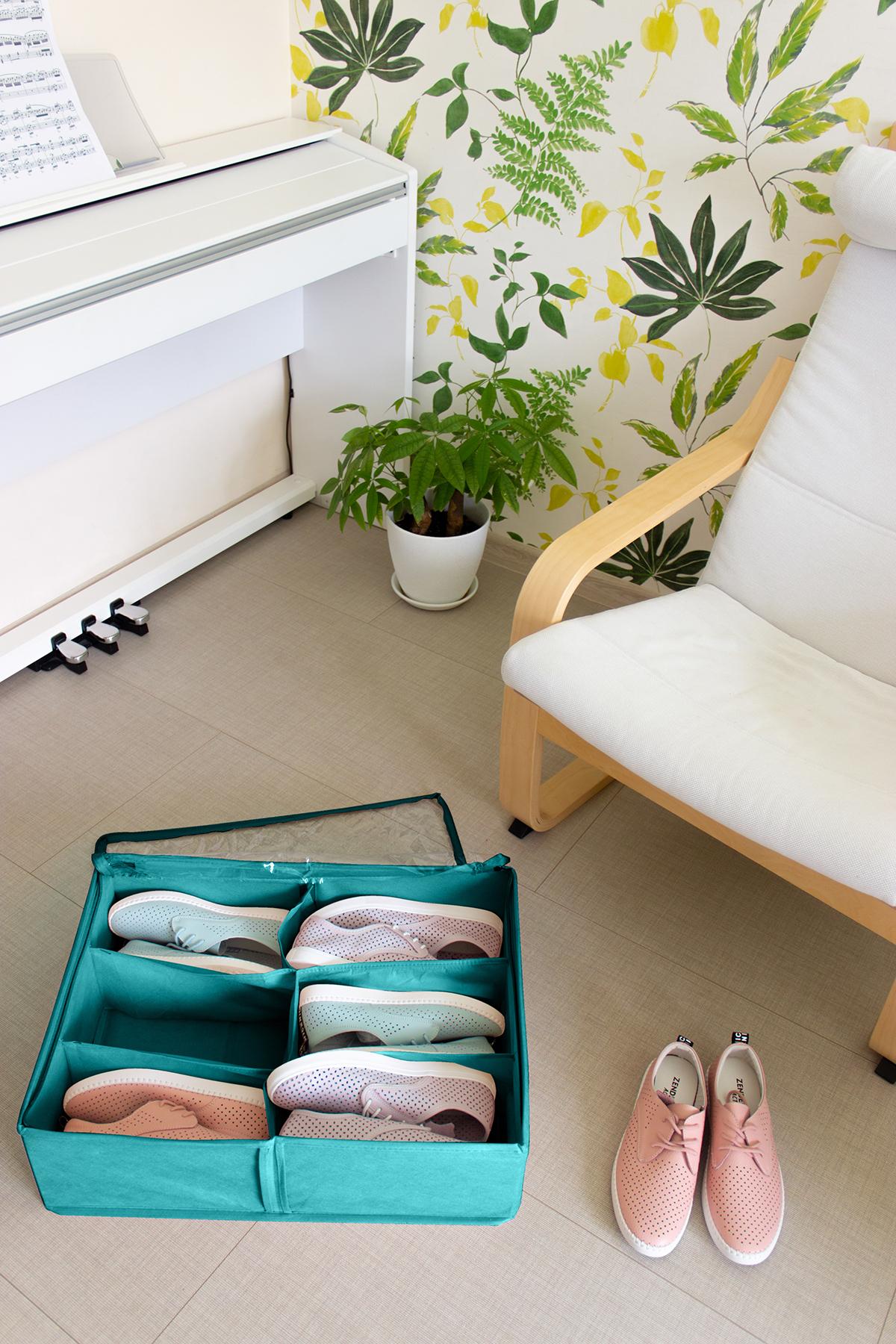 Кофр для обуви 53х40х15 см, 6 ячеек, Милан