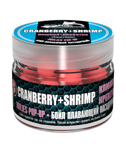 Бойлы насад. плав. Sonik Baits CRANBERRY-SHRIMP Fluo Pop-ups 14мм 90мл