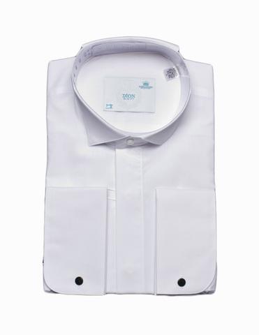 Сорочка Dion под бабочку белая приталенная супатная застежка