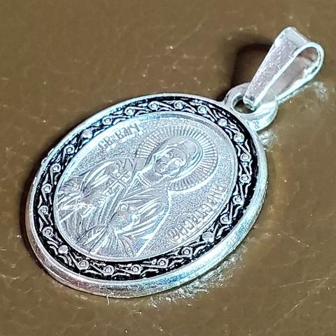 Нательная именная икона святая Анастасия с серебрением медальон на шею