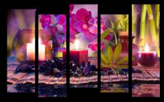 "Модульная картина ""Бамбук и свечи"""