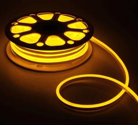 Гибкий неон 8х16 мм, светодиодный | Желтый - 50м | 12 вольт