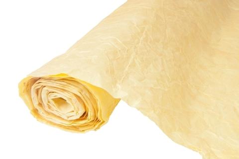 Бумага жатая эколюкс 70см х 5м  светло-желтая/золото 15G