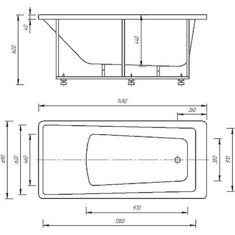 Ванна акриловая Aquatek Либра  150х70см. на каркасе и сливом-переливом. схема
