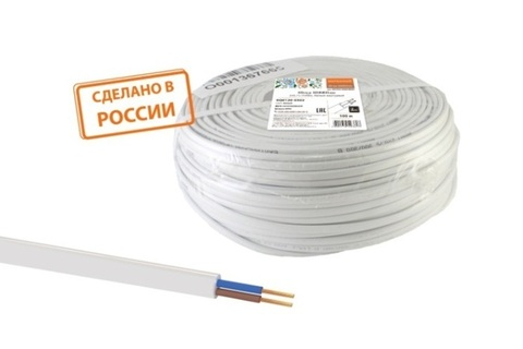 Провод ПГВВП 2х1 ГОСТ (100м), белый TDM