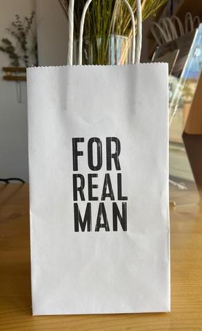 Пакет подарочный крафт For real men, 12×21×9см