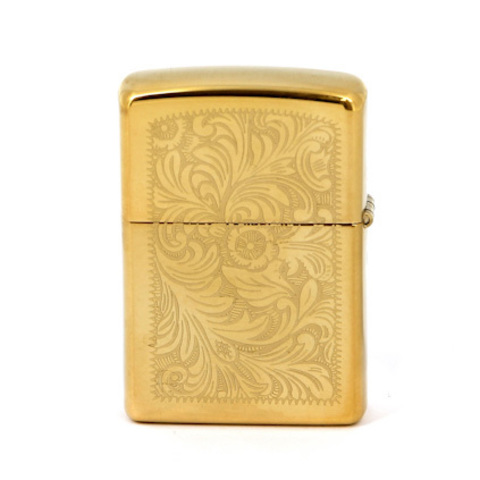 Зажигалка Zippo №352B с покрытием High Polish Brass, латунь/сталь, золотистая, глянцевая, 36x12x56 м