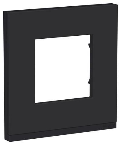 Рамка на 1 пост, горизонтальная. Цвет Каучук/антрацит. Schneider Electric Unica Pure. NU600282