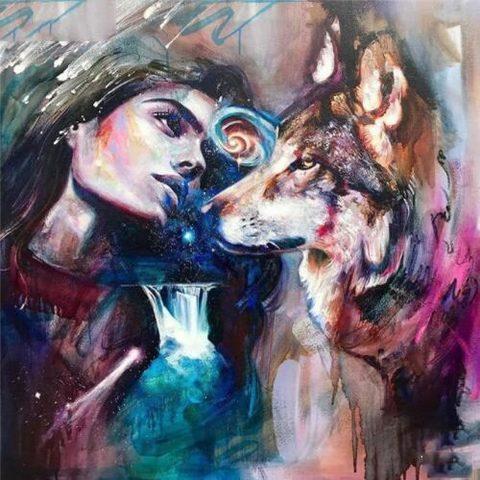 Картина раскраска по номерам 40x50 Зарисовка девушки и волка