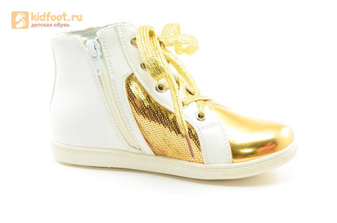 Кеды Монстер Хай (Monster High) на молнии и шнурках для девочек, цвет золотой белый. Изображение 2 из 13.