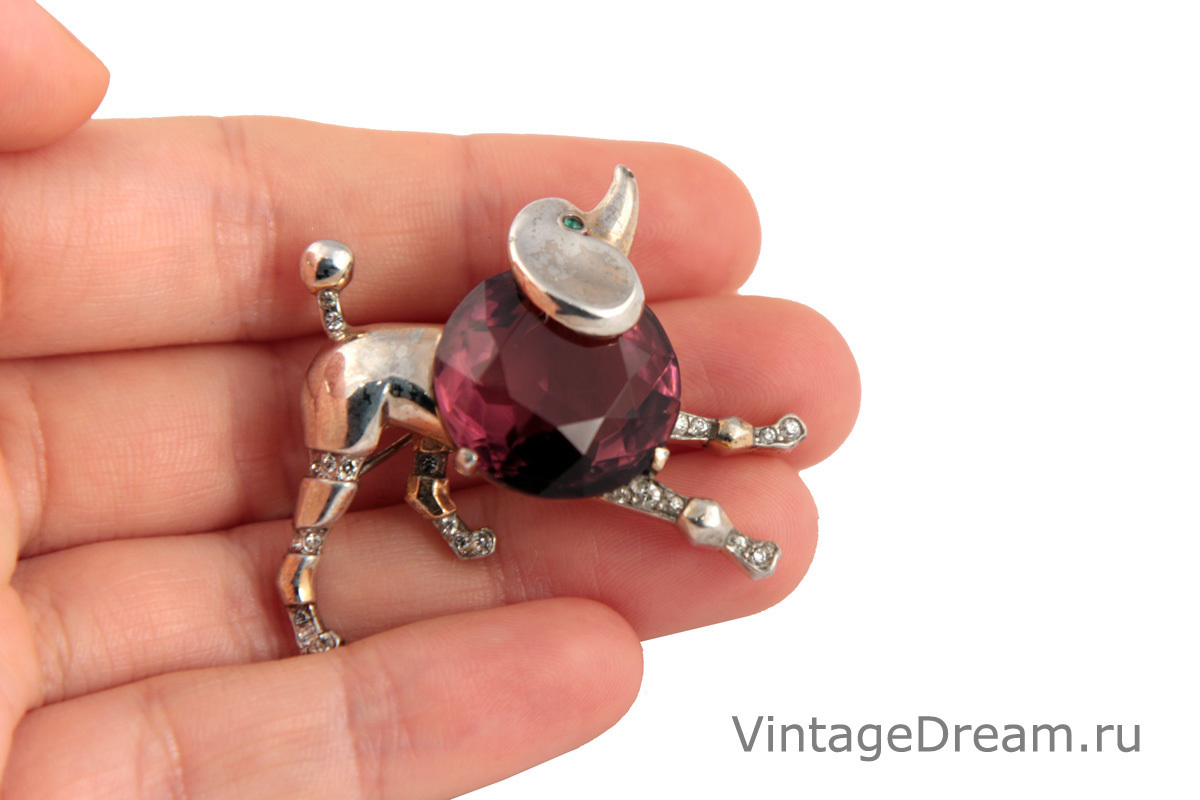 Rare silver collectible Poodle brooch by Trifari, 1940s