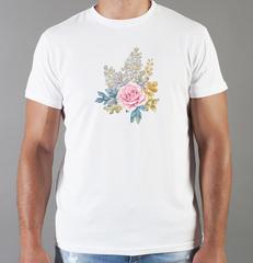 Футболка с принтом Цветы (Розы) белая 003