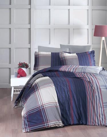 Комплект постельного белья DO&CO Сатин DELUX  ROXY 2 спальный Евро цвет синий