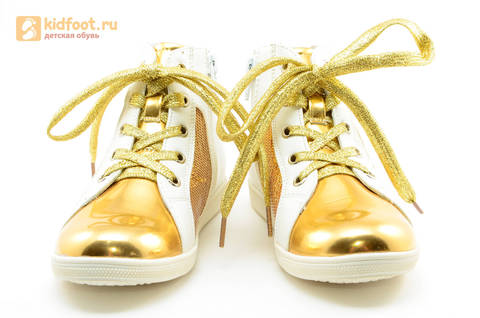 Кеды Монстер Хай (Monster High) на молнии и шнурках для девочек, цвет золотой белый. Изображение 5 из 13.