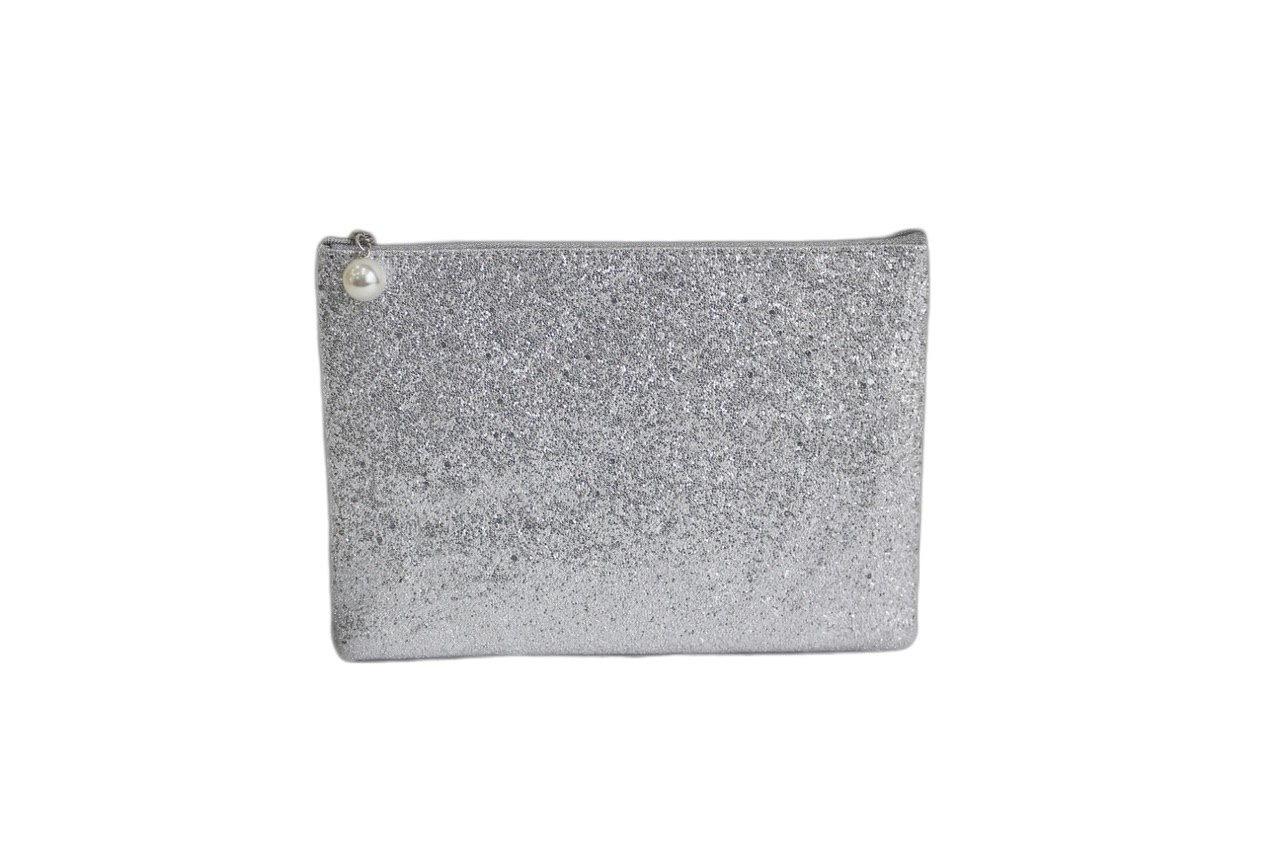 Косметичка - клатч блестящая Silver