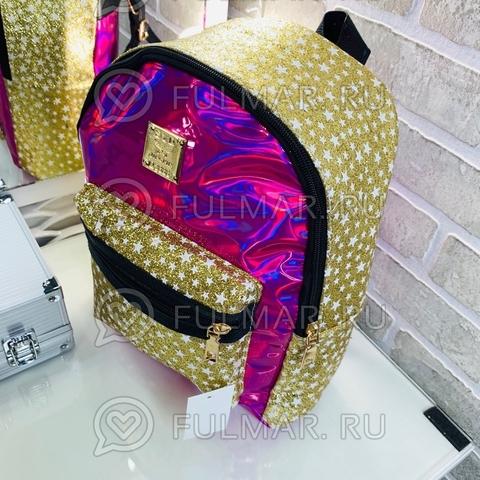 Рюкзак для девочки блестящий лаковый со звездами Малиновый с Золотистым