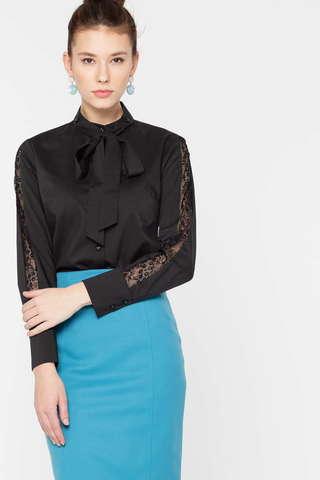 Фото черная блузка с кружевными вставками на рукавах и бантом - Блуза Г689б-776 (1)