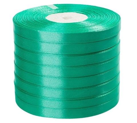 Лента атласная (размер: 10 мм х 50 ярд) Цвет:бирюзовый