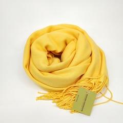 Кашемировый однотонный жёлтый палантин (32-1)
