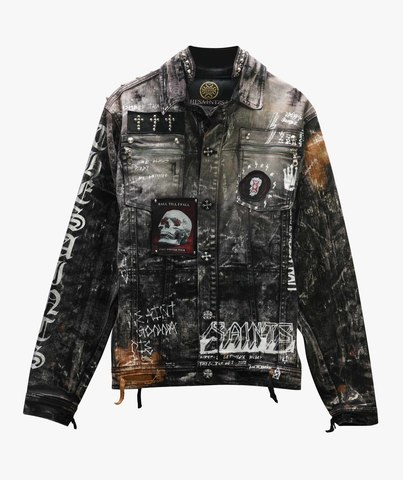 Куртка джинсовая The Saints Sinphony BLACK DISTRESSED CONCERT TRUCKER JACKET
