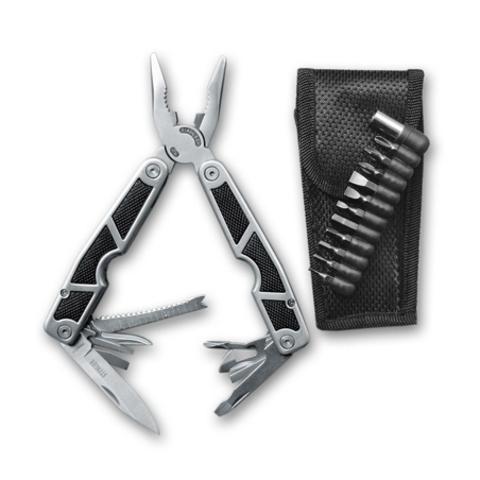 Мультитул Stinger, серебристо-черный, 10 инструментов, нейлоновый чехол+набор насадок